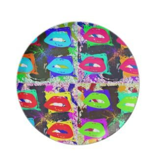 Warhol inspired Pop Art Grunge Lips Dinner Plates