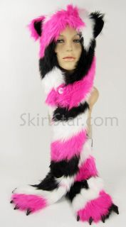 Faux Fur Hood Cat Pockets Long Arms Hat Snowboard Kitty Black White