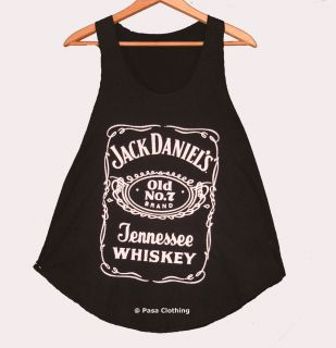 Girls Jack Daniels Black White print Tank Vest Sleeveless T Shirts