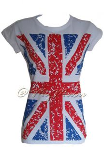 Ladies New Tshirt London Union Jack Womens UK Flag Top