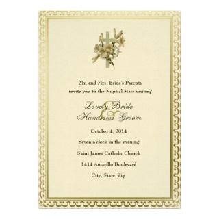 Ivory Cross Lilies Catholic Wedding Invitation