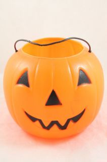VINTAGE HALLOWEEN ORANGE PLASTIC JACK O LANTERN PUMPKIN DECORATION