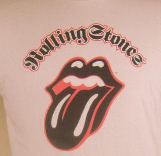 Rolling Stones Lips & Tongue Logo Mens T Shirt Large Beige Mick Jagger