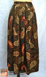 Jaclyn Smith Long Pleated Skirt Size 12 Paisley Boho Grunge Revival