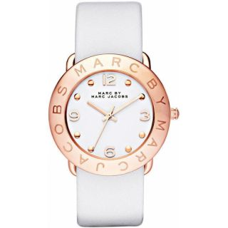 by M Jacobs Amy Rosegold White Leather Womens Watch MBM1180