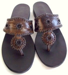 Jack Rogers Womens Black Label Thong Sandal Brown Size 8 5 M