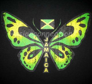 Jamaica Butterfly New Irie Roots Reggae Dub T Shirt XXL Black