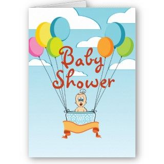 Baby Shower Balloons Invitation Cards