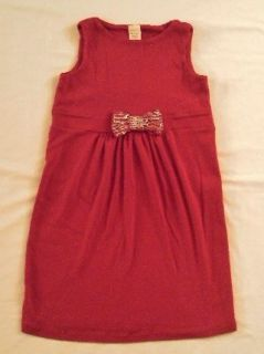 Crewcuts J Crew Girls Red Cotton Christmas Holiday Sequin Bow Dress