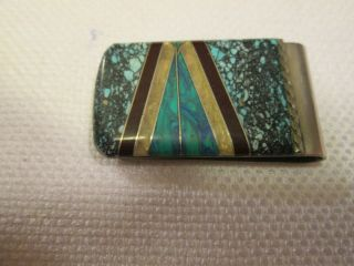 MONEY CLIP( ZUNI STYLE) SILVER CHANNEL INLAY ON STEEL/TURQUOISE/ONYX