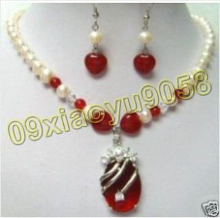 Beautiful White Pearl Red Jade Necklace Pendant Earring Set