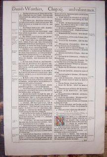 1613 King James Folio Bible Leaf King Davids Mighty Men Hand Colored