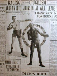 1909 photo display newspaper JACK JOHNSON & HEAVYWEIGHT BOXING
