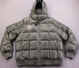 NIKE WITNESS Lebron James Mens GRAY FEATHER PUFFER HOODED JACKET COAT