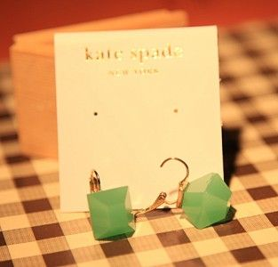 Kate Spade Jade Emerald Green Crystal Clip Earrings *U.S Seller* Gift
