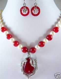 Noblest White Pearl Red Jade Necklace Earring