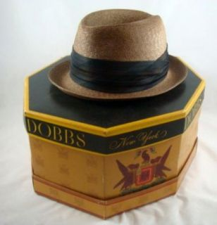 Vintage Knox N.Y. Stingy Brim Straw Beige Panama Fedora Hat With Box