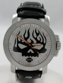New Mens Steel Harley Davidson by Bulova 76A137 Silver Black Skull