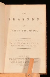 1787 The Seasons by James Thomson Life of The Author Patrick Murdoch