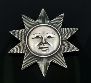 James Avery RARE Retired Large Sun Sterling Silver 925 Pin Brooch