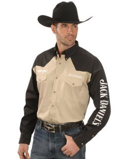 Wrangler Mens Jack Daniels Embroidered Shirt XL Ltd Ed Black Khaki 2
