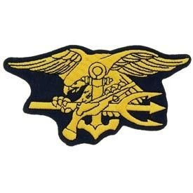 NAVY SEALS 5 INCH GOLD BLACK FELT EDGE CAP HAT JACKET PATCH