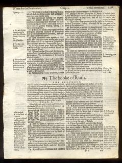 1607 Geneva Quarto Black Letter Bible Leaves Complete Book of Ruth A