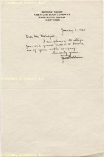 James Baldwin Autograph Letter Signed 01 01 1920