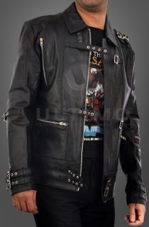 Michael Jackson Bad Punk Black Cow Hide Leather Jacket