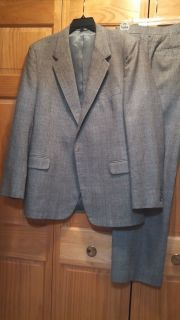 Mens James Edmond Gray 100 Wool Tweed Suit Jacket and Pants