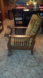 Circa 1900 Lions Head Push Button Reclining Oak Morris Chair