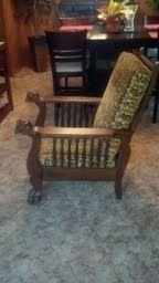 Circa 1900 Lions Head Push Button Reclining Oak Morris Chair
