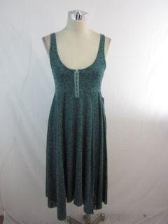 New Free People Jade Green Leopard Burnout Knit Asymmetrical Dress