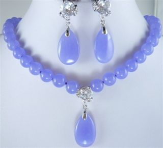 Noblest Light Purple Jade Necklace Pendant Earrings Set
