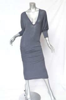 James Perse Dark Grey Jersey Wide V Neck Long Sleeve Dress Light Comfy