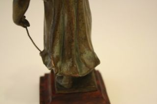 C1880 FRENCH BRONZE FIGURE OF YOUNG GIRL W/ ROUGE MARBLE BASE BY A