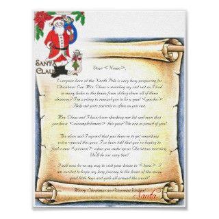 Letter Santa Vintage Style Poster