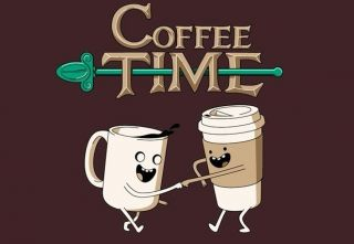 COFFEE TIME Adventure Time Shirt XXL Finn Jake T shirt Cartoon Network