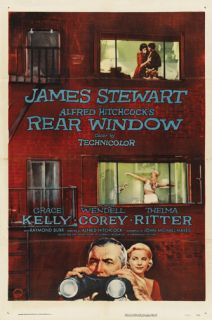 Rear Window Movie Poster James Stewart RARE Vintage 2
