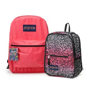 Jansport Mochila Backpack Reversible Zebra Leopard Girls School Bag