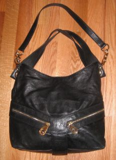 Michael Kors Jamesport Black Leather Large Shoulder Tote Bag