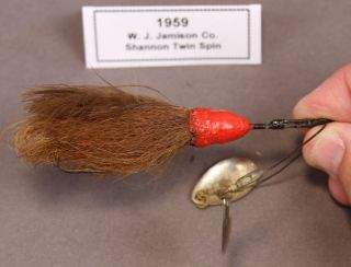 Jamison Shannon Twin Spin Fishing Lure Jig 4 Red Brown Vintage 1959