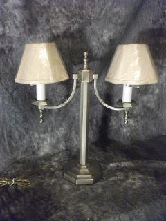 Murray Feiss Pewter Linen 2 Light 20 Table Lamp