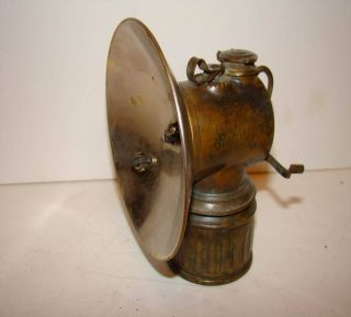 Vintage Brass Justrite Carbide Coal Miner Cap Lamp Excellent Condition