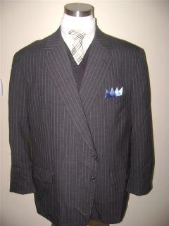 Tom James mens 2 btn dark gray pin striped wool jacket blazer sport