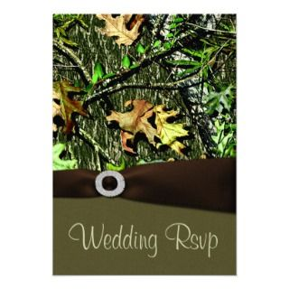 Chocolate Brown Hunting Camo Wedding RSVP Cards Personalized Invite