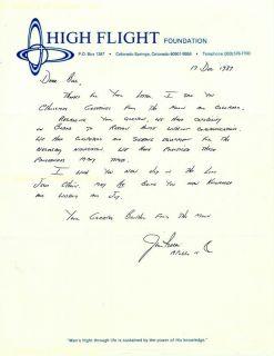 James B Jim Irwin Autograph Letter Signed