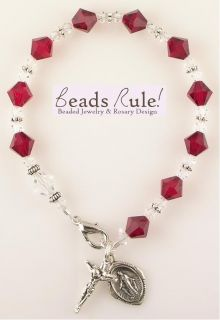 Crystal Birthstone Rosary Bracelet with Sterling Silver Charms
