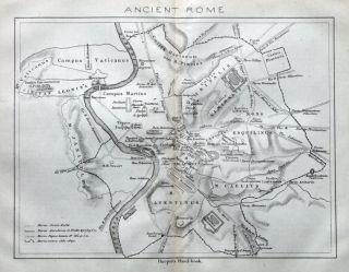 Ancient Rome Italy Street Plan Original Antique Map 1872