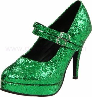 High Heel Green Glitter Double Strap Mary Jane 421 Jane G GRNG